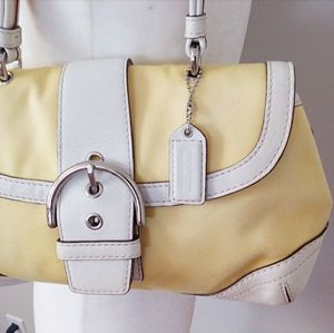 Coach Bags - Coach Signature Yellow/White Sm. Hobo Baguette